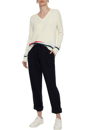 DUFFY Pointelle-trimmed cashmere sweater