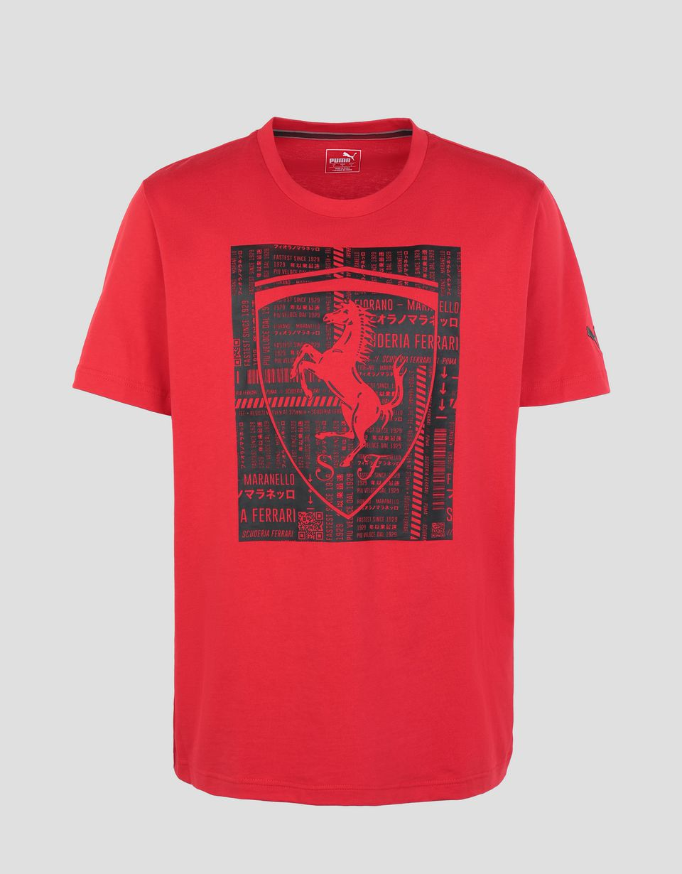 t shirt en coton pour homme avec grand scudetto ferrari. Black Bedroom Furniture Sets. Home Design Ideas
