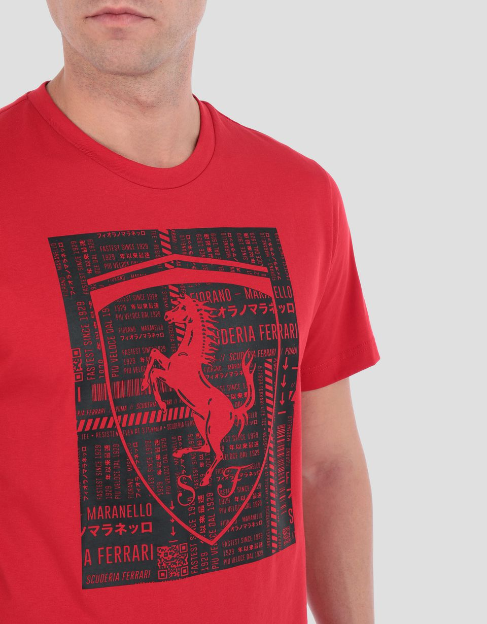 Scuderia Ferrari Online Store - Men's cotton T-shirt with large Ferrari Shield - Short Sleeve T-Shirts