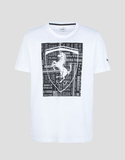 Scuderia Ferrari Online Store - T-shirt uomo in cotone con grande Scudetto Ferrari - T-shirt manica corta