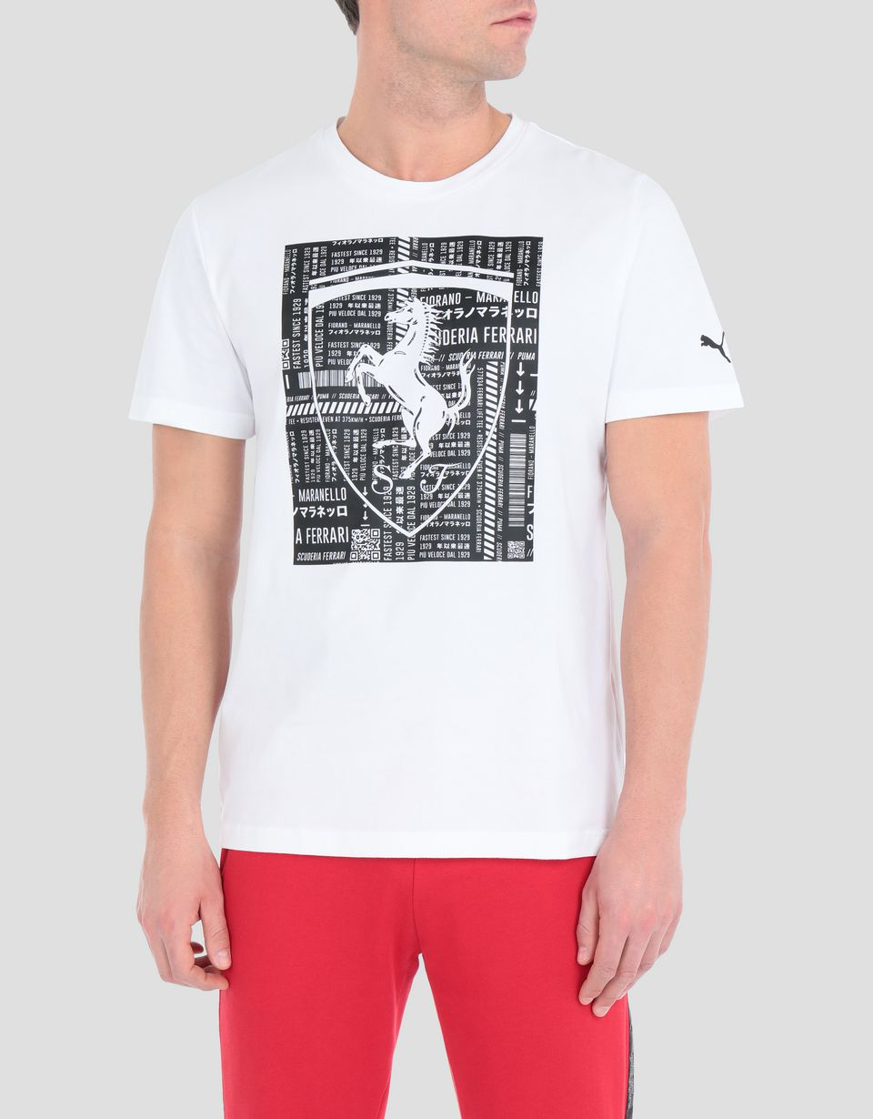 Scuderia Ferrari Online Store - Men's cotton T-shirt with large Ferrari Shield -