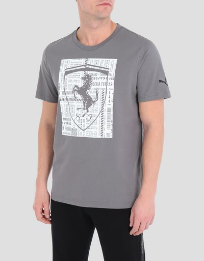 Men's cotton T-shirt with large Ferrari Shield