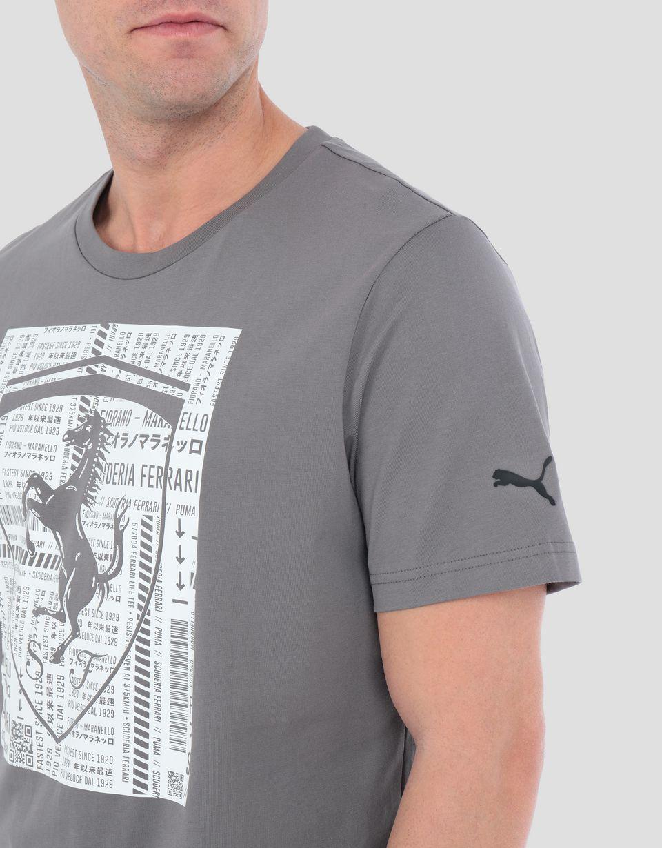Scuderia Ferrari Online Store - T-shirt en coton pour homme avec grand Scudetto Ferrari - T-shirts à manches courtes