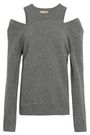 MICHAEL KORS COLLECTION Cold-shoulder mélange knitted sweater