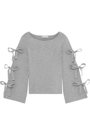 MILLY Bow-detailed mélange knitted top