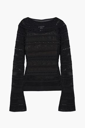 OSCAR DE LA RENTA Scalloped open-knit sweater