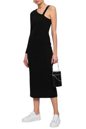 THE RANGE One-shoulder ribbed-knit midi dress