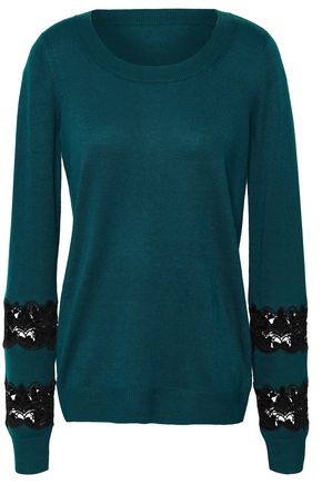 MICHAEL MICHAEL KORS Guipure lace-trimmed knitted sweater
