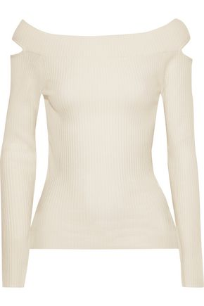 59073bccc2e87 AUTUMN CASHMERE Cutout ribbed wool-blend top