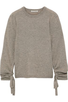 AUTUMN CASHMERE Ruched mélange cashmere sweater