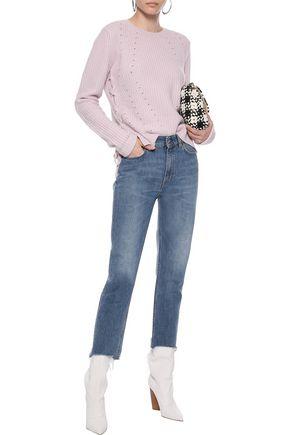 AUTUMN CASHMERE Lace-up pointelle-knit cashmere sweater