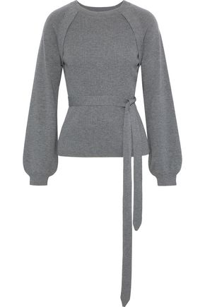 CHALAYAN Belted ribbed wool and cashmere-blend sweater