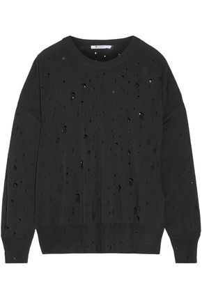 ALEXANDER WANG Distressed stretch-knit sweater