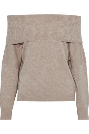 CHALAYAN Off-the-shoulder mélange wool and cashmere-blend sweater