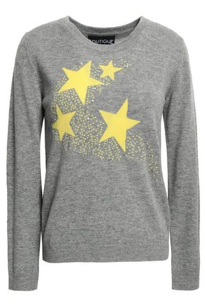 BOUTIQUE MOSCHINO Crystal-embellished intarsia wool and cashmere-blend sweater