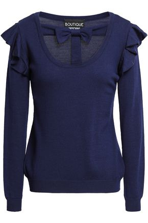 BOUTIQUE MOSCHINO Bow-embellished cutout virgin wool sweater