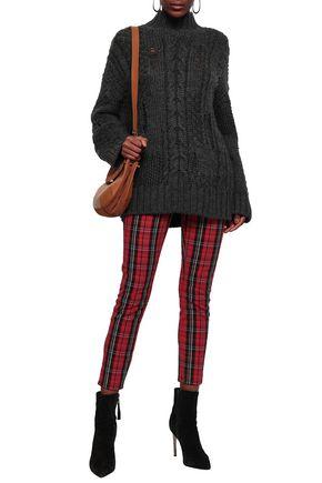 Current Elliott Current/Elliott Woman Distressed Cable-Knit Turtleneck Sweater Anthracite