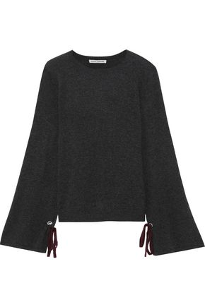 AUTUMN CASHMERE Bow-detailed mélange cashmere sweater
