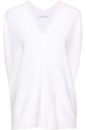NARCISO RODRIGUEZ Pointelle-trimmed wool and cashmere-blend top