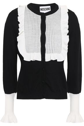 MOSCHINO Ruffled pointelle knit-paneled wool cardigan