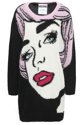 MOSCHINO Intarsia mohair-blend mini dress