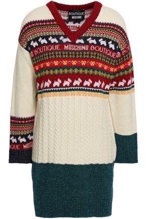 BOUTIQUE MOSCHINO Metallic jacquard-knit mini dress