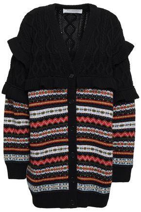 PHILOSOPHY di LORENZO SERAFINI Cable and jacquard-knit virgin wool cardigan