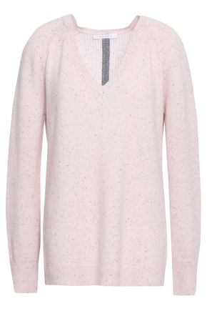 DUFFY Open knit-paneled cashmere sweater