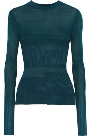 NARCISO RODRIGUEZ Paneled ribbed-knit top