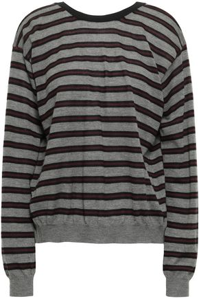 MARNI Tie-back striped cashmere-blend top