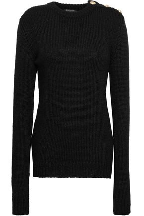 BALMAIN | Balmain Button-embellished Ribbed-knit Sweater | Goxip