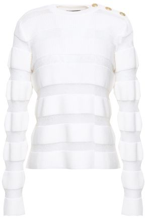 BALMAIN Button-detailed paneled merino wool-blend sweater