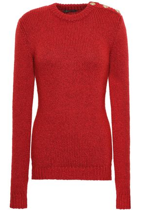 BALMAIN Button-embellished ribbed-knit sweater