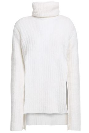 BALMAIN Ribbed mohair-blend turtleneck sweater