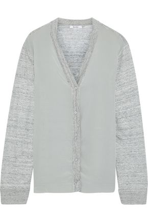 MAX MARA Fertile silk-paneled mélange linen cardigan