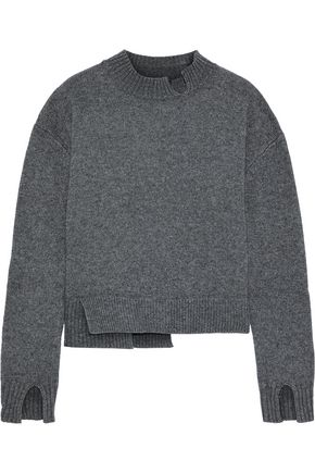 THE RANGE Asymmetric mélange knitted sweater