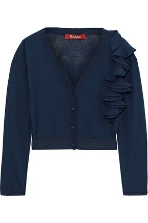 MAX MARA Cropped ruffle-trimmed cotton cardigan