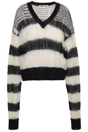 McQ Alexander McQueen Striped open-knit mohair-blend sweater