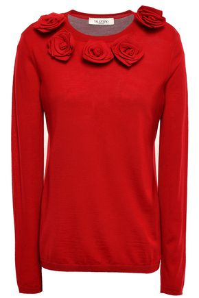 VALENTINO Floral-appliquéd knitted sweater