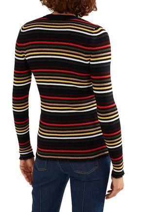 SONIA RYKIEL Striped ribbed-knit wool-blend sweater