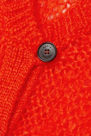 SONIA RYKIEL Button-detailed open-knit mohair-blend cardigan