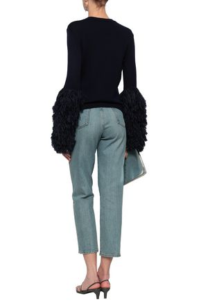 ROSIE ASSOULIN Fringed wool, alpaca and cotton-blend sweater