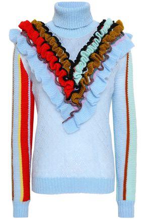 ANNA OCTOBER Ruffled pointelle-knit wool turtleneck sweater