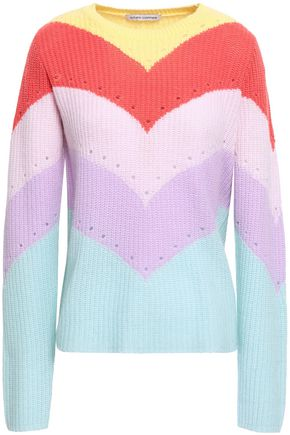 AUTUMN CASHMERE Pointelle-trimmed color-block ribbed cashmere sweater