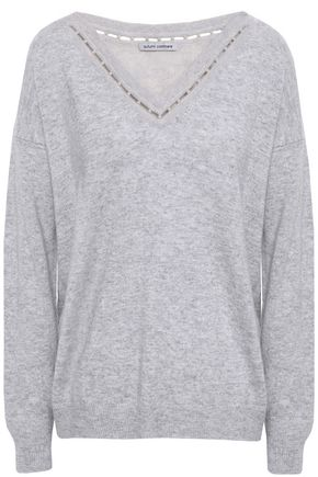 AUTUMN CASHMERE Faux pearl-embellished mélange cashmere sweater