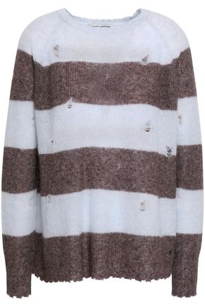 AUTUMN CASHMERE Distressed striped cashmere and silk-blend sweater