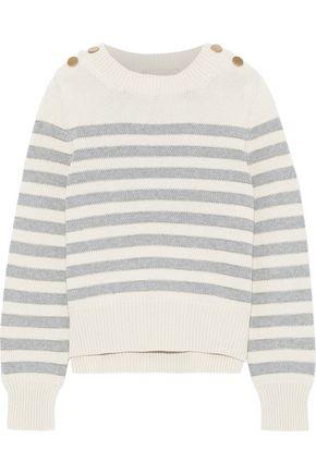 VANESSA BRUNO Idra button-detailed striped cotton-blend sweater