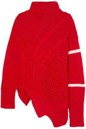 PREEN LINE Open and cable-knit turtleneck sweater