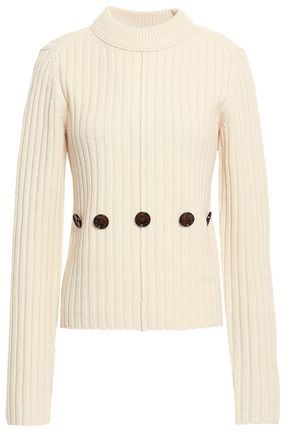 JOSEPH Button-embellished ribbed wool sweater