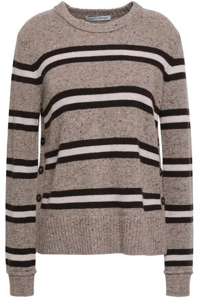AUTUMN CASHMERE Striped marled cashmere sweater